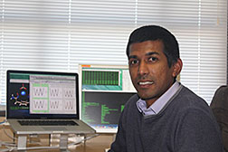 Nuwan De Silva, scientist at the Ames Laboratory, is developing software to help improve purification of rare-earth materials. Photo credit: Sarom Leang