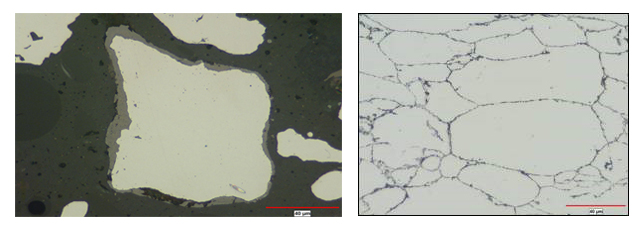 Left as atomized an annealed Fe-3Si particles and right a Compacted and cured Fe-3Si powder produced by the RAM process ,good insulation of particles is seen.